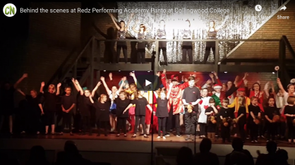 Behind the scenes at Redz Performing Academy Panto at Collingwood College